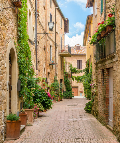 Zdjęcia na płótnie, fototapety na wymiar, obrazy na ścianę : A narrow and picturesque street in Pienza, Tuscany, Italy.