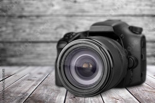 Black camera isolated on white background - 220865411