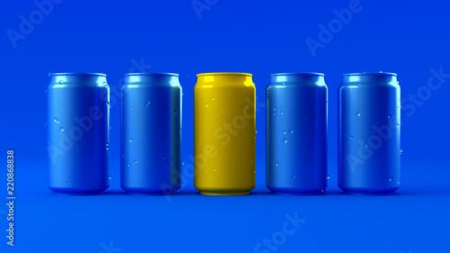 Leinwandbild Motiv Blue background with yellow aluminum cans