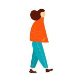Walking young girl. Vector hand drawn illustration. - 220871670