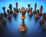 The Queen in highlight. Pieces of chess game, image with shallow depth of field. - 220874069