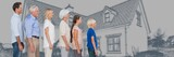 Family generations descending in height in front of house - 220878428