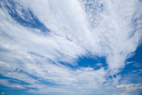 Blue cloudy sky background photo, clouds pattern - 220883009