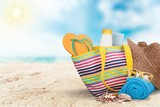 , bag, sunglasses  on a tropical beach - 220886051