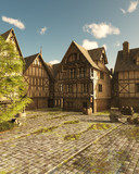 Mediaeval Street on a Bright Sunny Day - fantasy illustration - 220890475