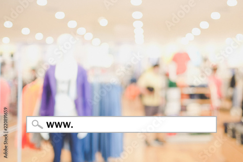 Web banner, www. on search bar over blur store background, on line shopping ,business, E-commerce, technology and digital marketing concept background