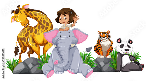 Fridge magnet Safari girl with wild animals