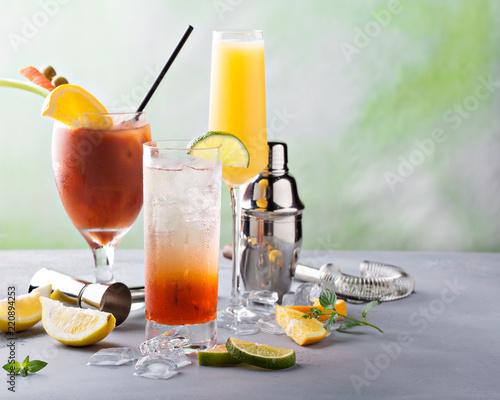 Leinwanddruck Bild Breakfast or brunch cocktails