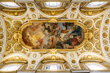 """Постер, картина, фотообои """"Frescos and paintings on the ceiling of Church of St. Louis of the French (San Luigi dei Frances) in Rome, Italy"""""""