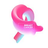 Breast Cancer Awareness pink 3d fluid ribbon card - 220896091