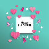 Breast Cancer Awareness paper cut heart shape card - 220896205