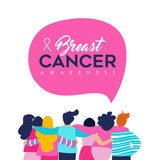 Breast Cancer Awareness card of friend group - 220896230