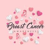 Breast Cancer Awareness paper cut heart shape card - 220896233