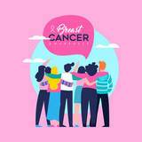 Breast Cancer Awareness card of friend group - 220896241