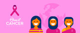 Breast Cancer Care diverse girl group for support - 220896246