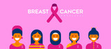 Breast Cancer Care diverse girl group for support - 220896247
