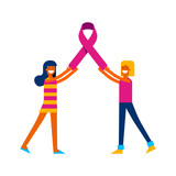 Breast Cancer Awareness friends with pink ribbon - 220896250