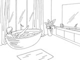 Bathroom graphic home interior black white sketch illustration vector. Woman washing in the bathtub - 220902040