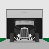 classic vintage retro custom car illustration vector side view