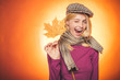 Leinwandbild Motiv Autumn is a beautiful and colourful time of year. Autumn celebrate. Hello Autumn and Autumn Dreams. Advertisement concept. Sensual girl. Promotional products. Happy smiling woman. Advertising agency.