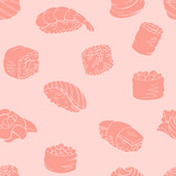 Sushi food graphic pink color seamless pattern background sketch illustration vector - 220911276