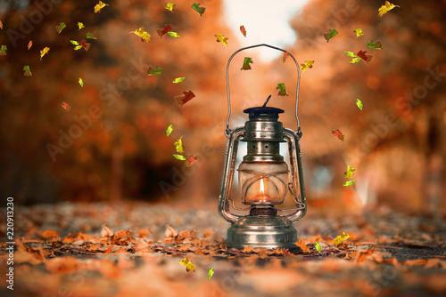 Leinwanddruck Bild Laterne in der Herbstallee