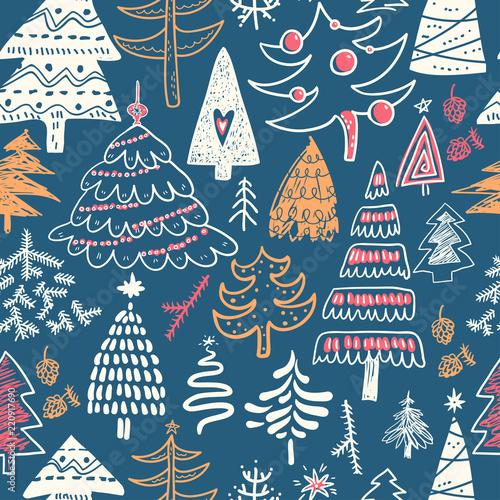 fototapeta na ścianę Funny doodle christmas pine trees seamless pattern. Hand kids dr