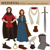 Medieval European old retro fashion style of man knight and woman clothes garments and personal accessories. - 220925475