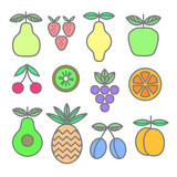 Collection of colored icons of fruits and berries. Pear, strawberry, lemon, apple, cherry, kiwi, grape, orange, avocado, pineapple, plum, apricot. Vector illustration. - 220927086