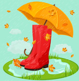Red boots and umbrella Vector. Rainy day backgrounds - 220931879