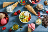 Flat lay of assorted ice cream with ingredients - 220932694