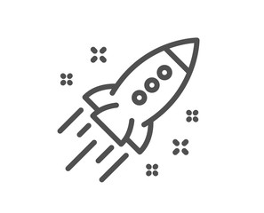 Startup rocket line icon. Launch Project sign. Innovation symbol. Quality design element. Classic style startup rocket icon. Editable stroke. Vector