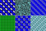 Blue and green seamless fabric clothing textile design set - 220937201