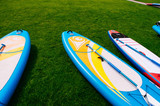 Board for rowing standing, SUP Board on the lawn - 220938833
