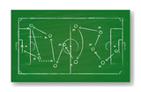 Realistic green board drawing a soccer game strategy. International world championship tournament concept. Vector illustration - 220939090