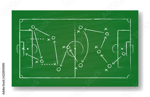 Naklejka Realistic green board drawing a soccer game strategy. International world championship tournament concept. Vector illustration