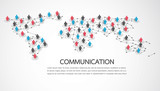 Connecting people with World map point and line composition concept of global business. Social network concept. Vector illustration - 220939874
