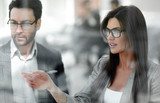 close up.business woman talking to business partner