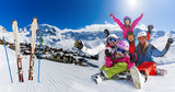 Happy family enjoying winter vacations in ski resort. Playing with snow, Sun in high mountains. Winter holidays in 3 Vallees, Val Thorens, France. - 220944237