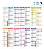 Calendrier 2019 - 14 MOIS / Vacances scolaires complètes incluses - 220945042