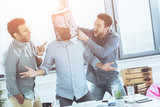 portrait of young business team having fun in office, business teamwork