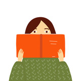 Girl in green sweater reading a book. Vector hand drawn illustration. - 220951269
