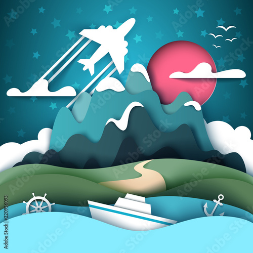 Cartoon paper landscape. Mountain, ship, anchor handwheel airplane Vector eps 10