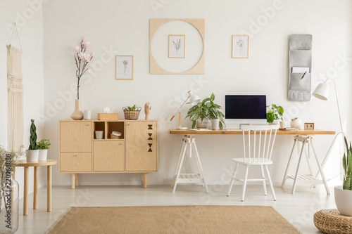 Real photo of a simple home office interior with a cabinet, flower, graphics and desk with a computer. Place your graphic - 220968888