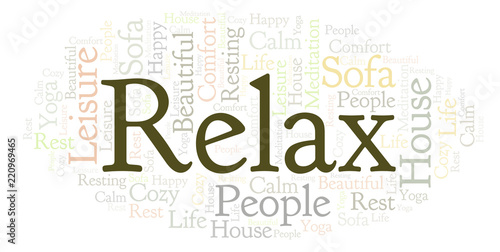 Poster Relax word cloud.