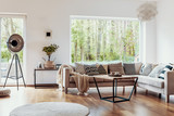 View outside to the green woods through large glass windows in a natural living room interior with beige sofa and dark hardwood floor - 220969673