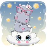 Cute Hippo a on the Cloud - 220985636