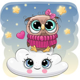 Cute Owl a on the Cloud - 220985658