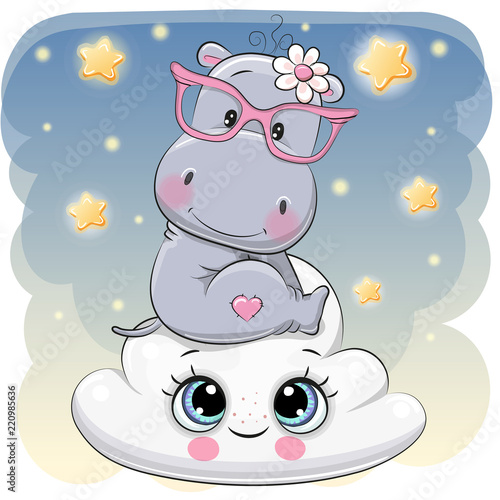 Cute Hippo a on the Cloud - 220985636