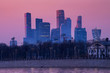 cityscape of modern and urban skyscrapers Moscow International Business Center is Architecture and landmark of Moscow City with sweet sunset sky, Russia
